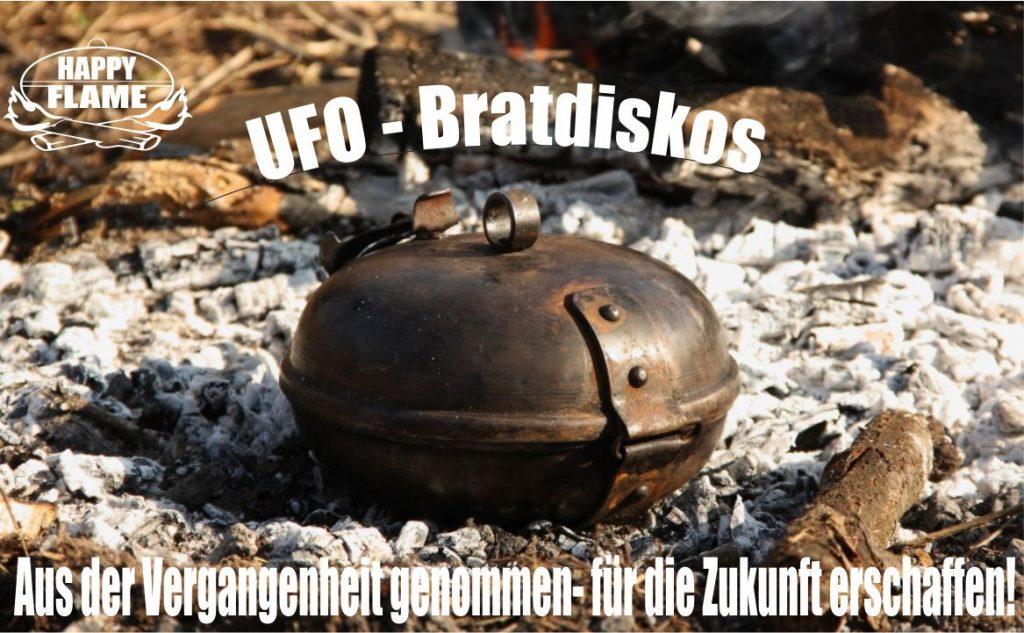 HAPPY FLAME UFO Bratdiskos - Fürs Kochen in der Freie entworfen, besteht aus zwei Edelstahl-HalbKugeln, die durch ein Scharnier und ein einfaches Verschlusssystem verbunden sind.